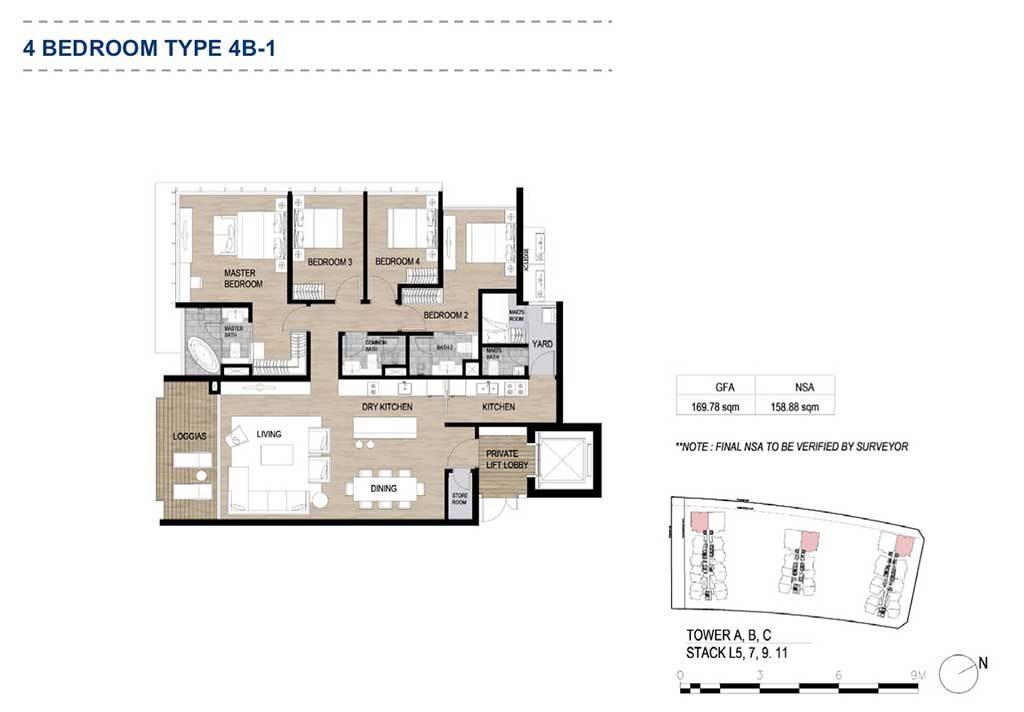 Mặt bằng căn hộ 4 phòng ngủ The Metropole Thủ Thiêm của công ty thiết kế Dp Architects