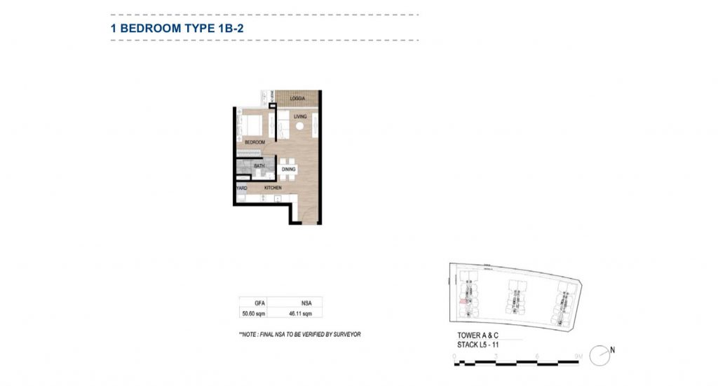 Mặt bằng căn hộ The Metropole Thủ Thiêm 1 phòng ngủ bản mới nhất