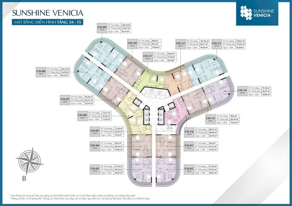 Mặt bằng căn hộ Sunshine Venicia tầng 3A-15