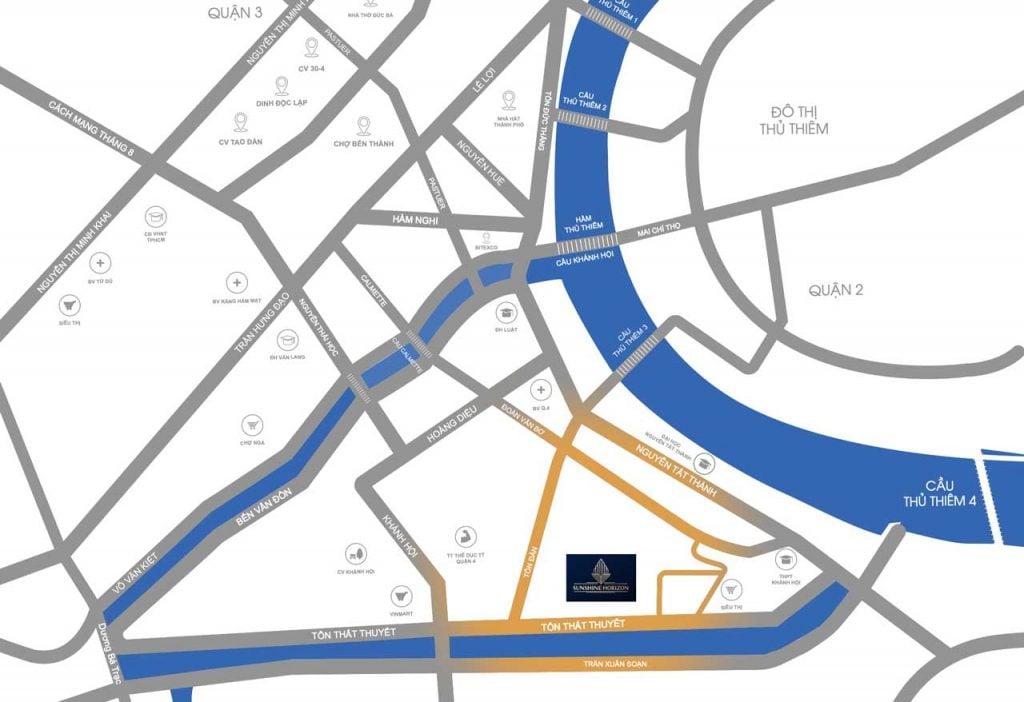 Bản đồ vị trí dự án Sunshine Horizon nằm trên đường Tôn Thất Thuyế Quận 4